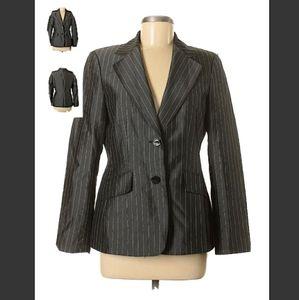 Womens 2piece pant suit Metallic grey Pinstripe 8
